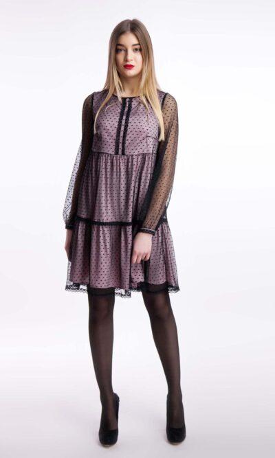 Вечернее платье атлас сетка мини, пудра