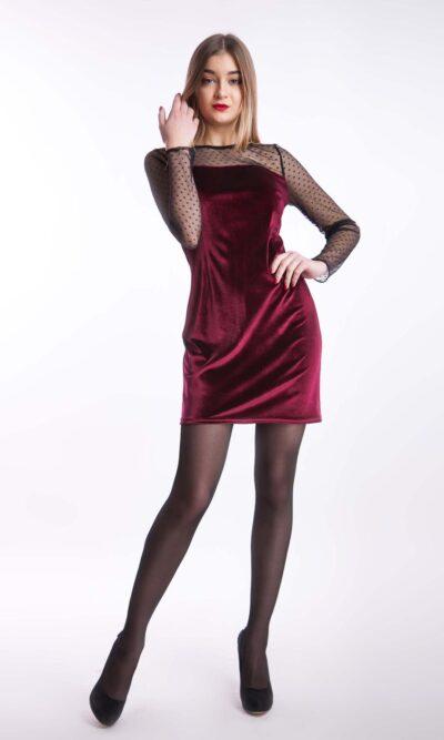 Вечернее платье по фигуре бархат мини, бордо