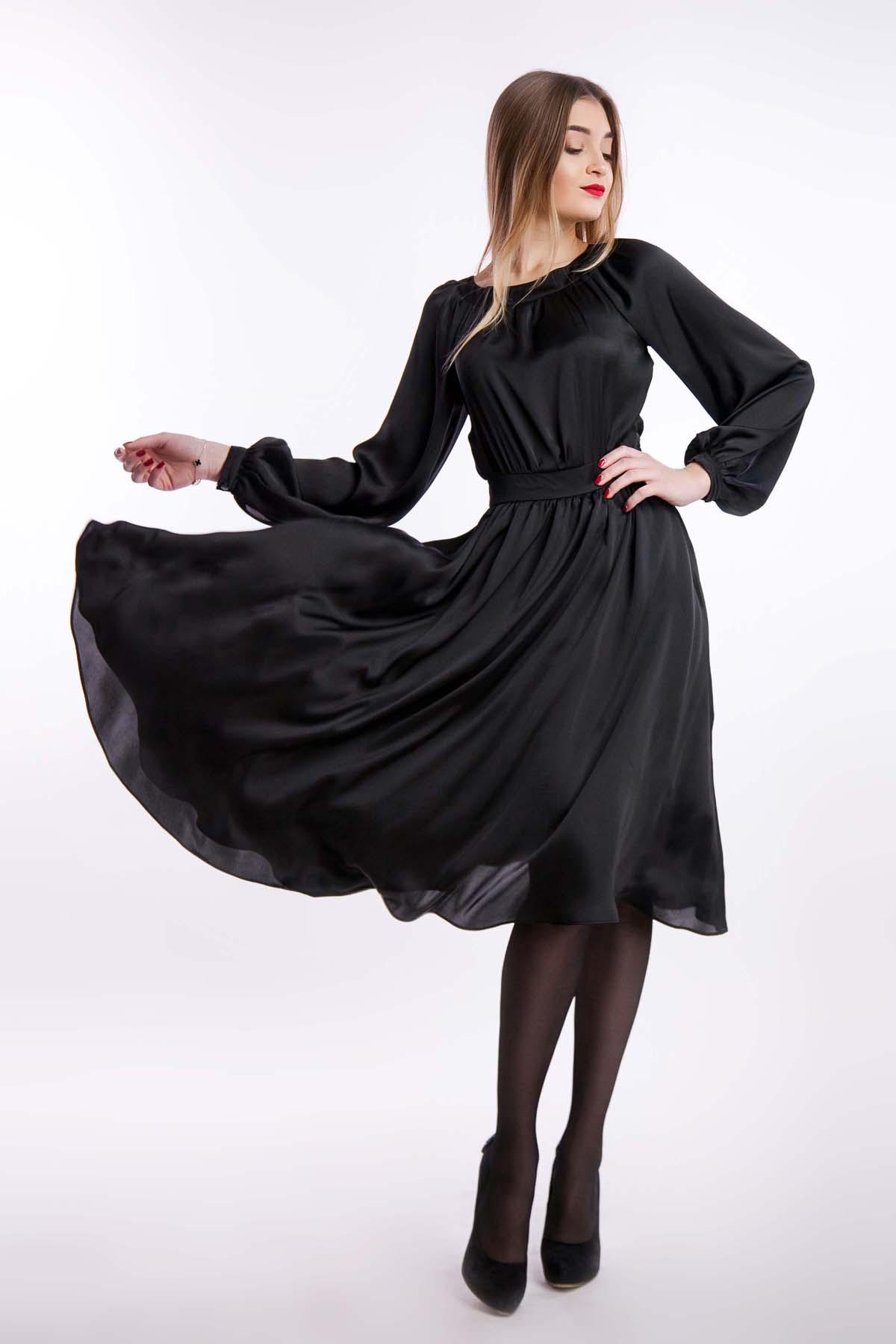 Вечернее платье шелк, черный