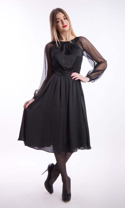 Вечернее платье шелк рукав сетка, черный