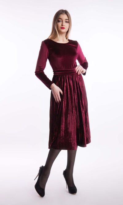 Вечернее платьей плиссе миди бархат, бордо