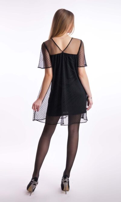 Коктейльное платье сетка, черный