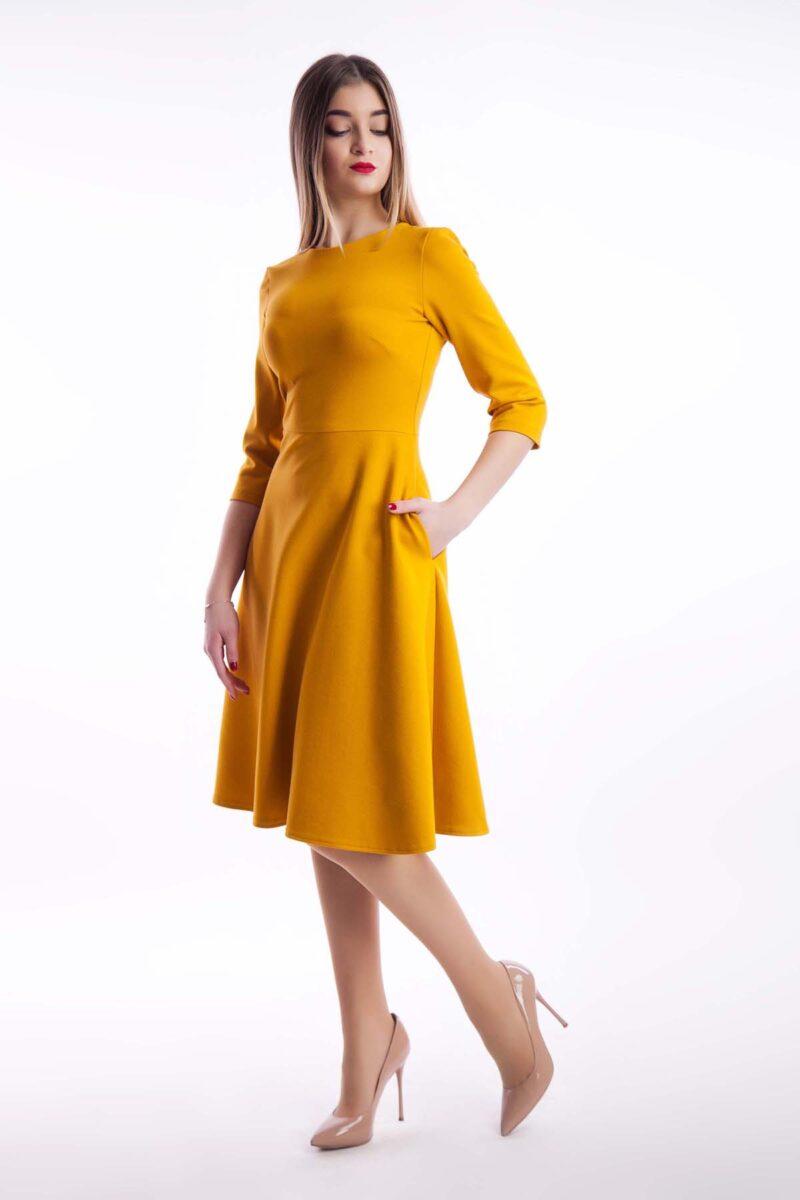 Повседневное платье миди, горчица