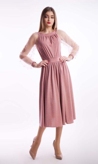 Вечернее платье миди рукав бусинка, пудра
