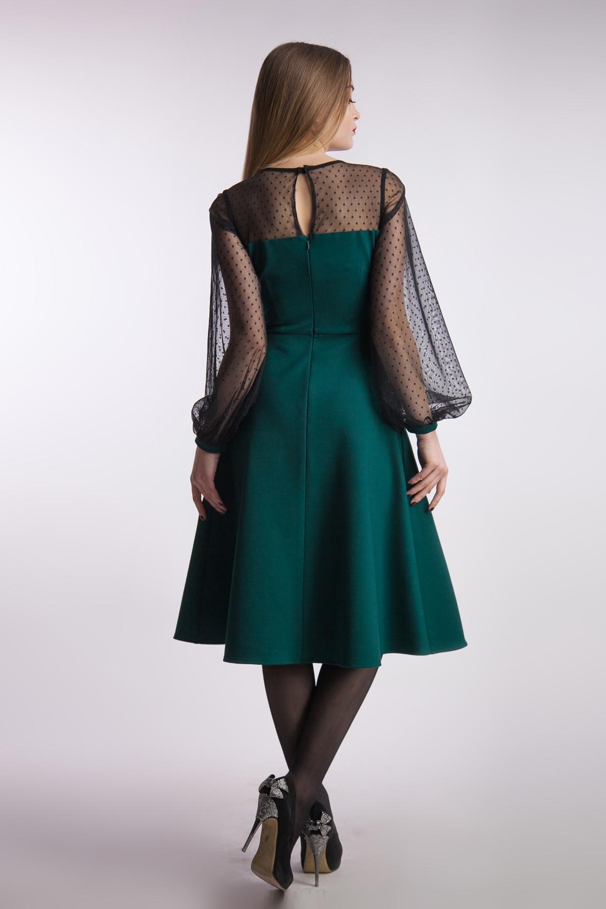 Вечернее платье миди рукав сетка, изумруд