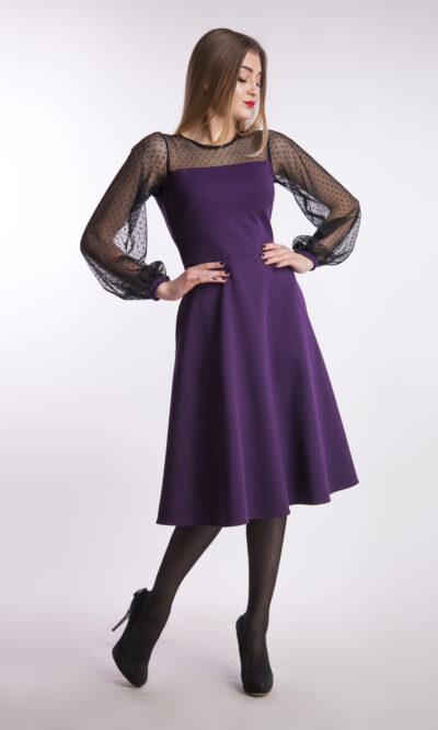 Вечернее платье миди рукав сетка, баклажан