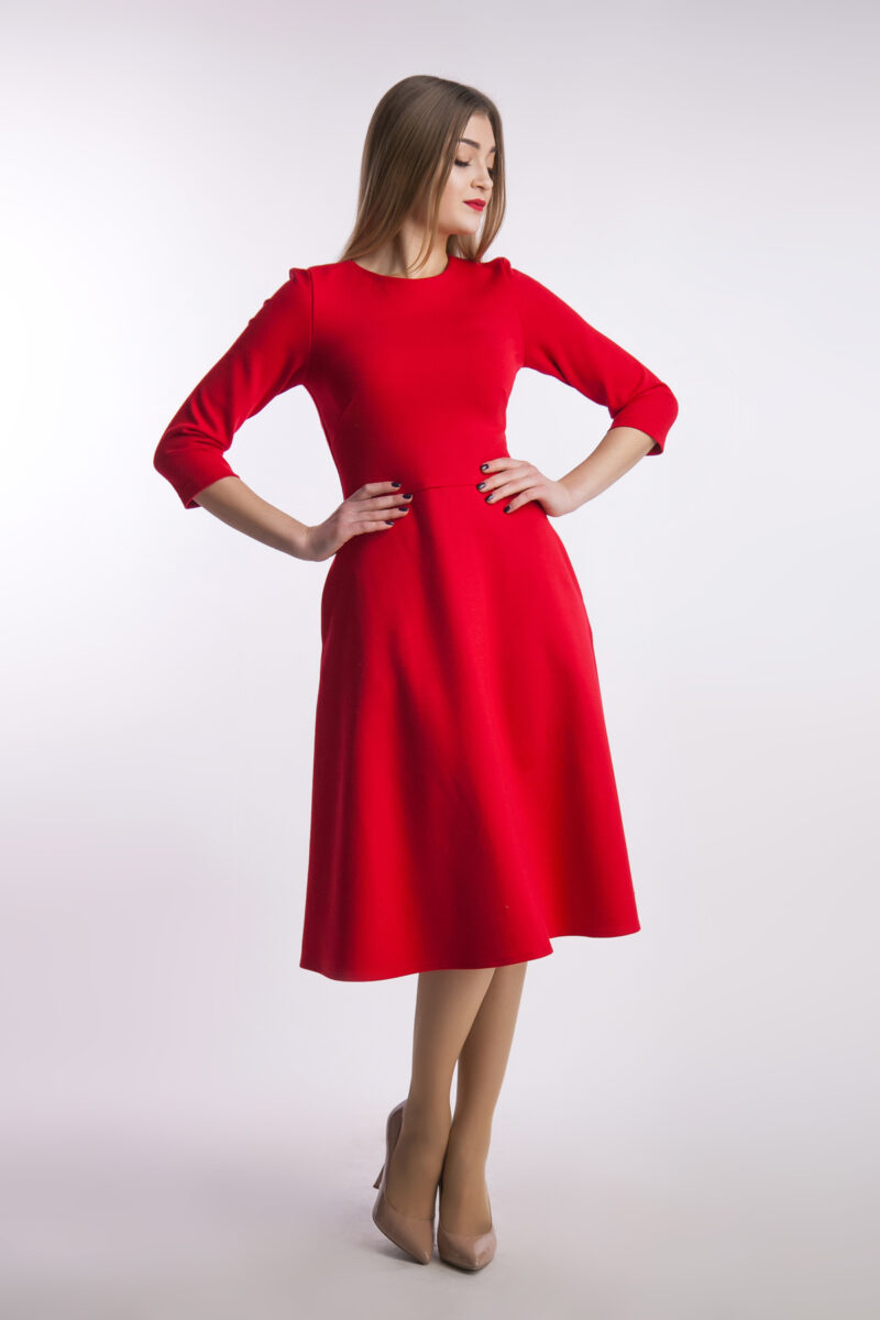 Повседневное платье миди, красное