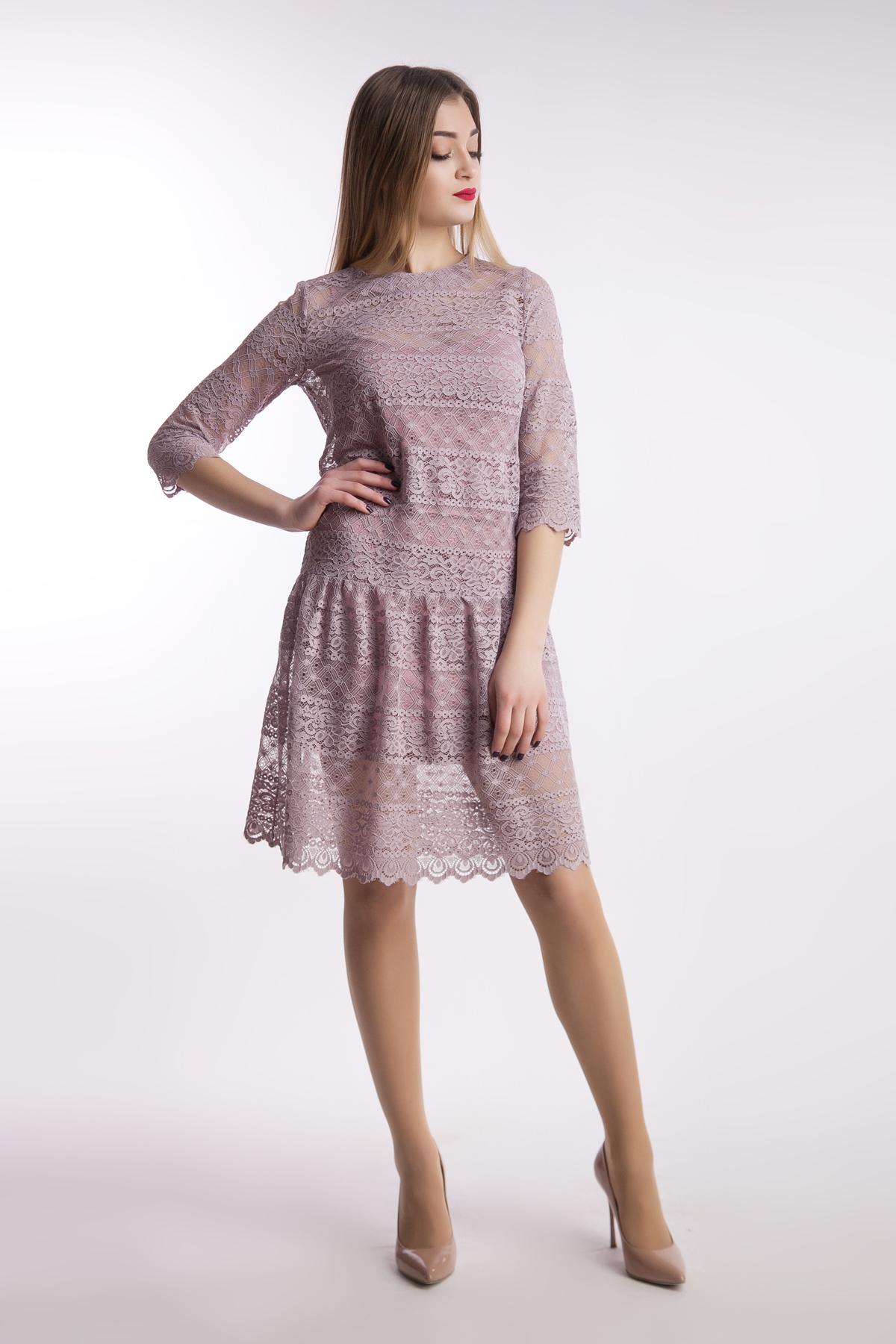Вечернее платье мягкое кружево рюша, пудра