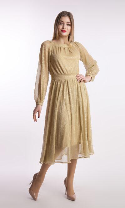 Вечернее платье миди, золото