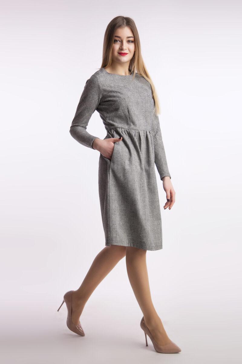 Платье офис миди, гусинная лапка