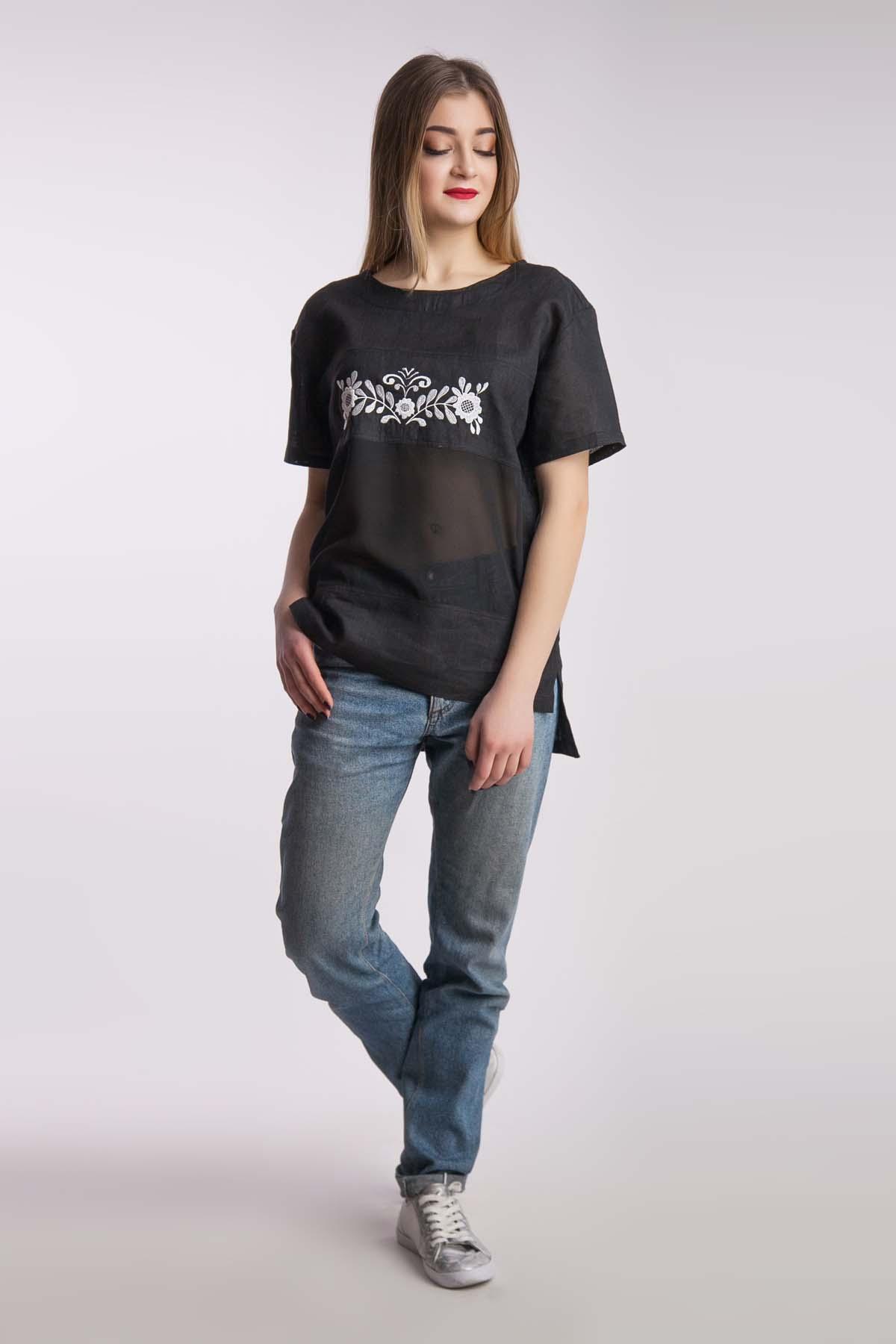 Льняная футболка, черная