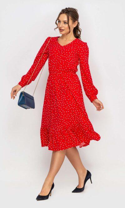 Платье в горошек красный