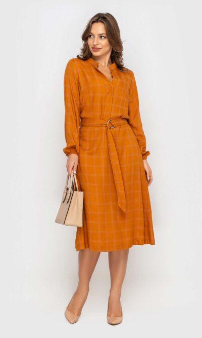 Штапельное платье горчица
