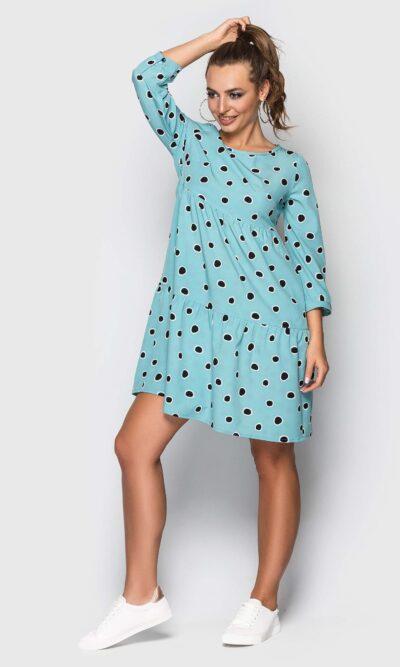 Бюрюзовое платье в горошек