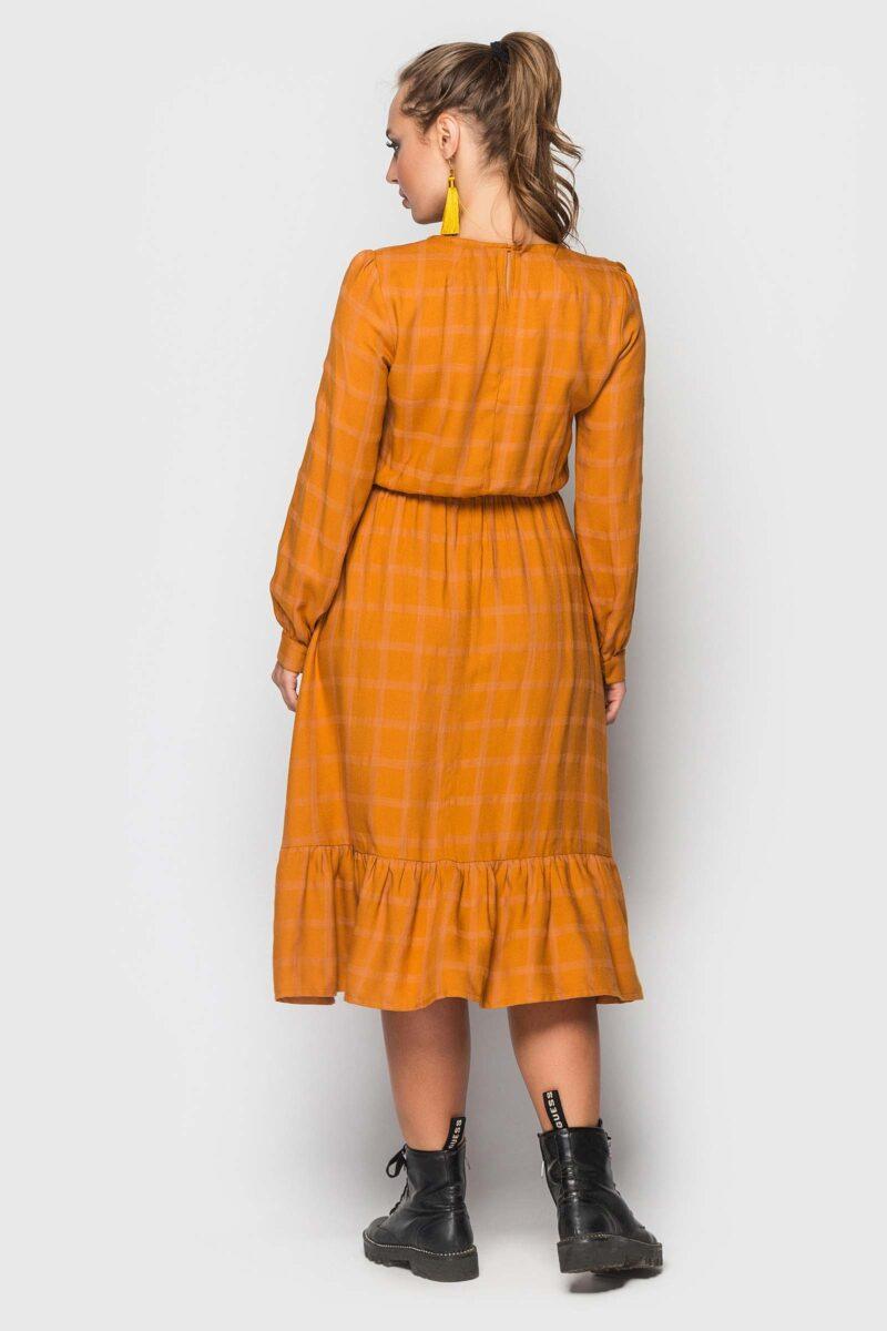 Горчичное платье с рюшей