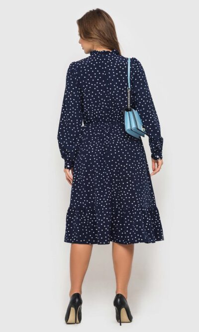 Темно-синие платье в горох