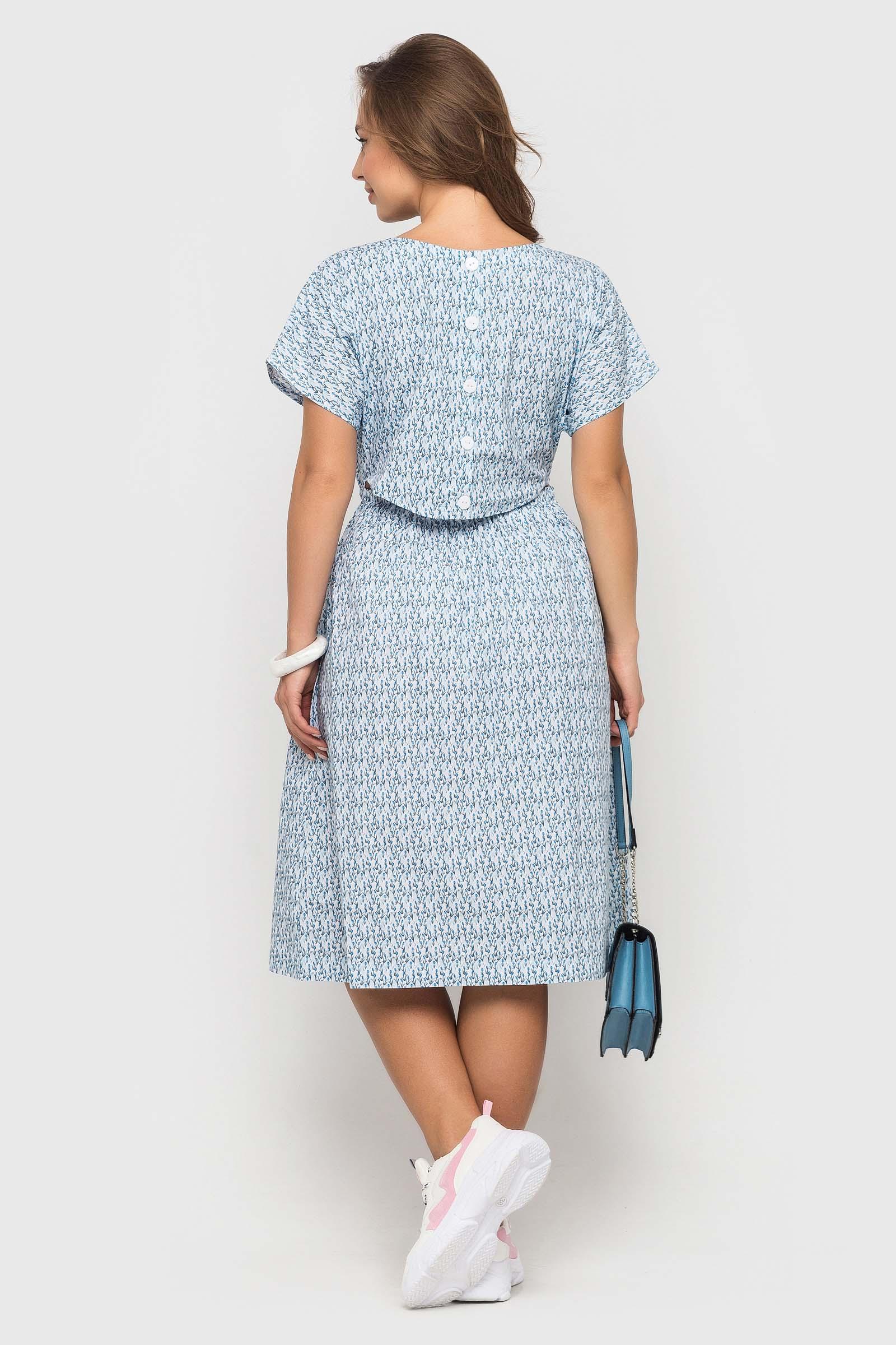 Голубое платье длинной миди