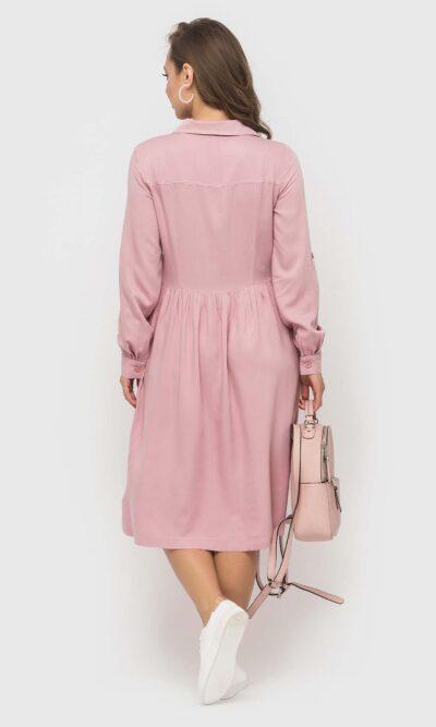 Пудровое платье из натуральной ткани