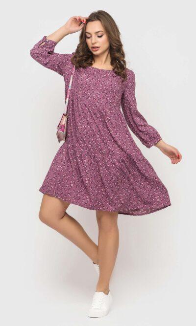 Сиреневое платье из штапеля