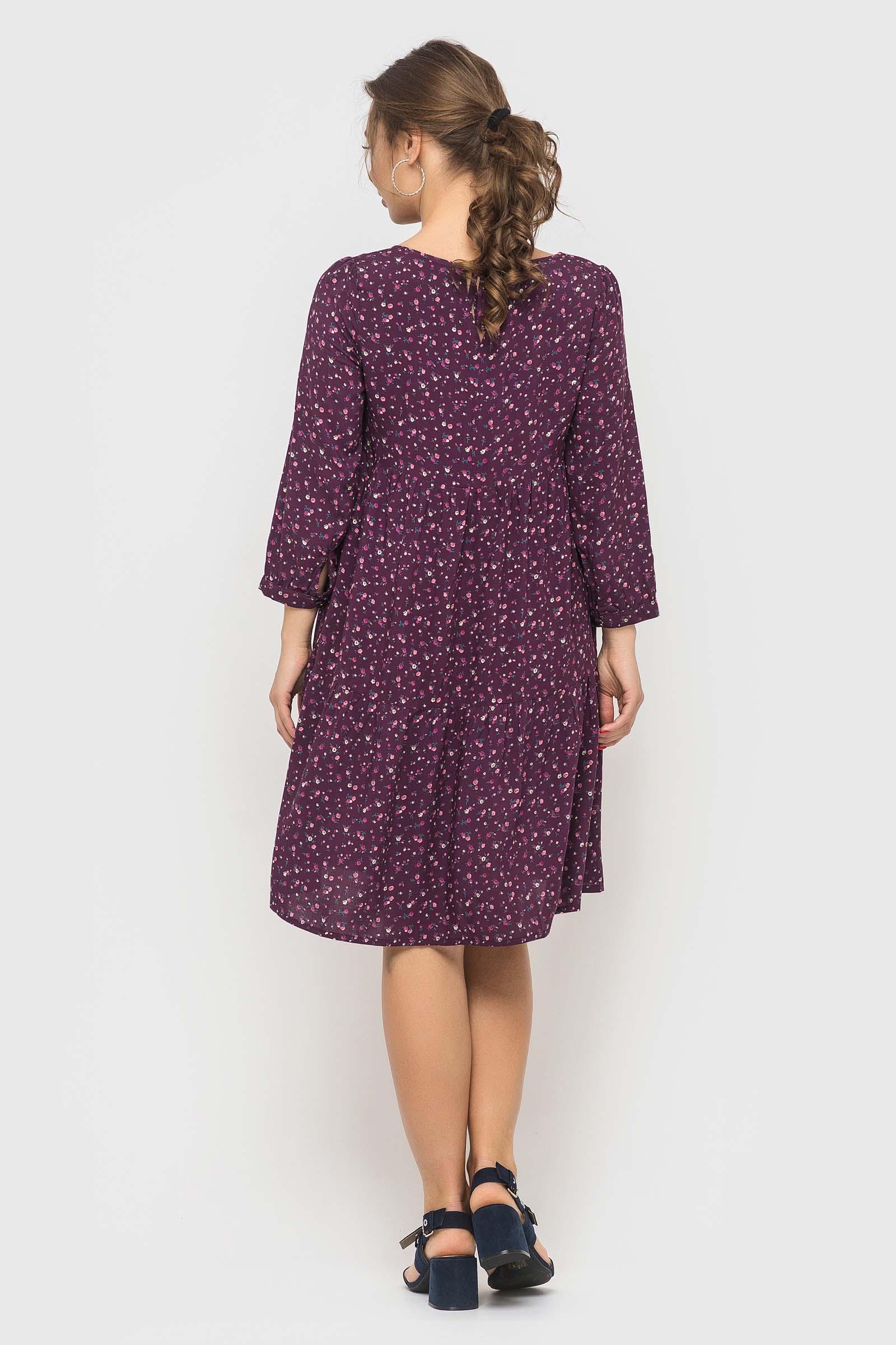 Платье цвета баклажан в стиле бохо