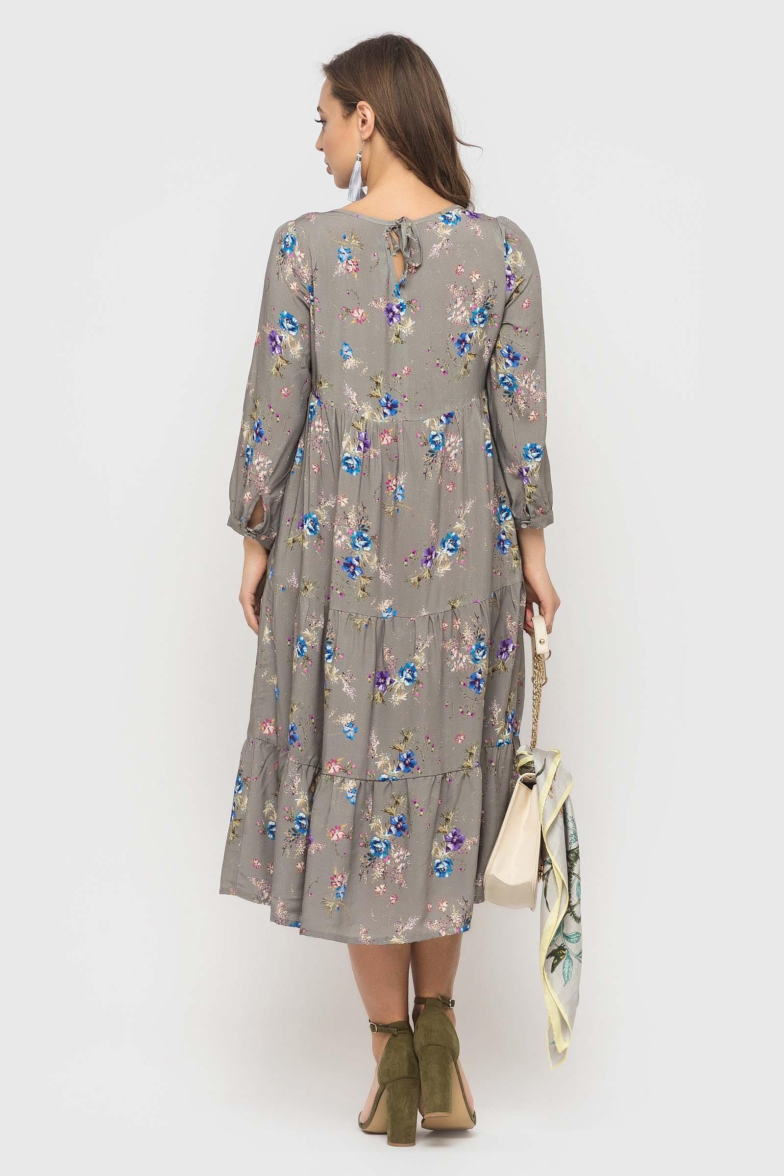 Серое штапельное платье в цветочек