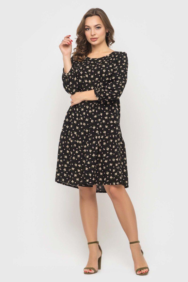 Черное платье в цветочек из натуральной ткани
