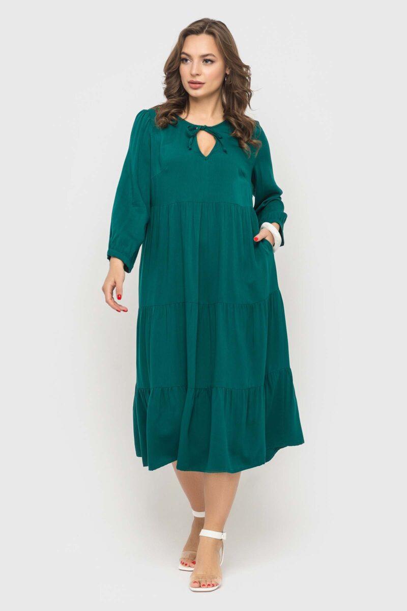 Изумрудное платье в стиле бохо