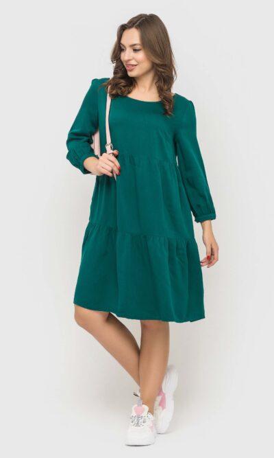 Практичное изумрудное платье