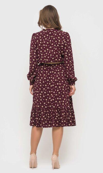 Платье цвета бордо из натуральной ткани