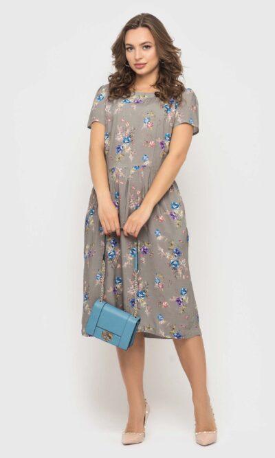 Серое платье в цветочек из натуральной ткани