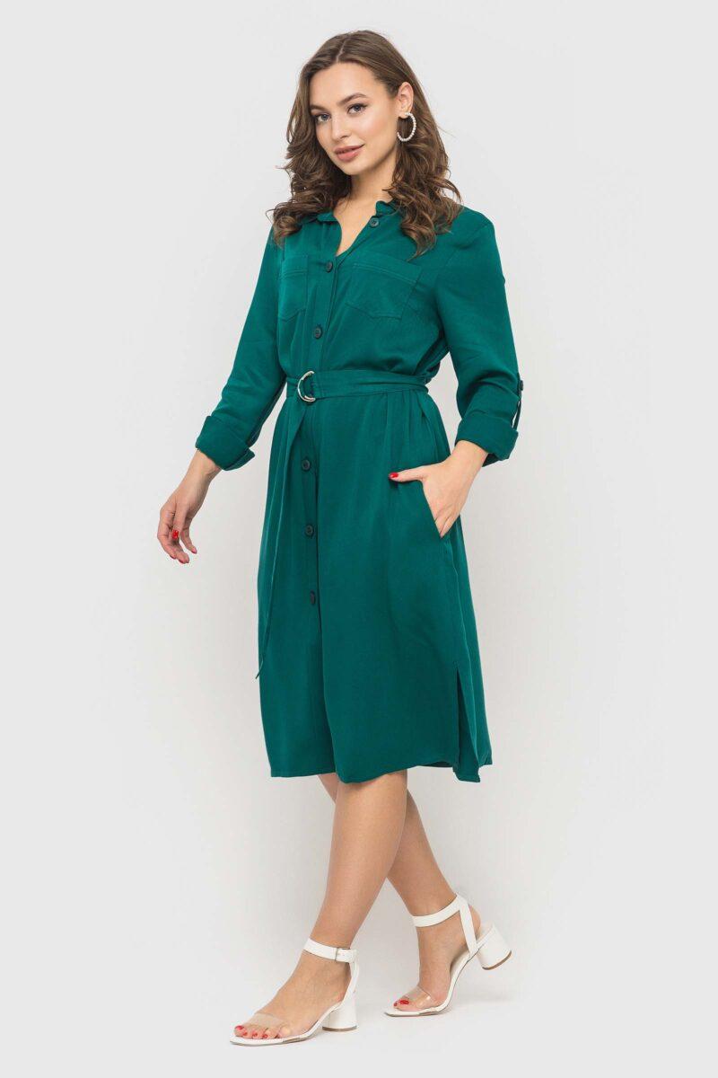 Изумрудное платье-рубашка из натуральной ткани