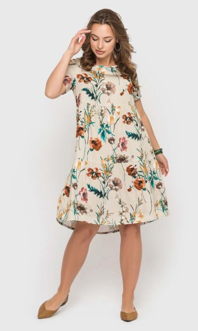 Бежевое платье с цветочным принтом