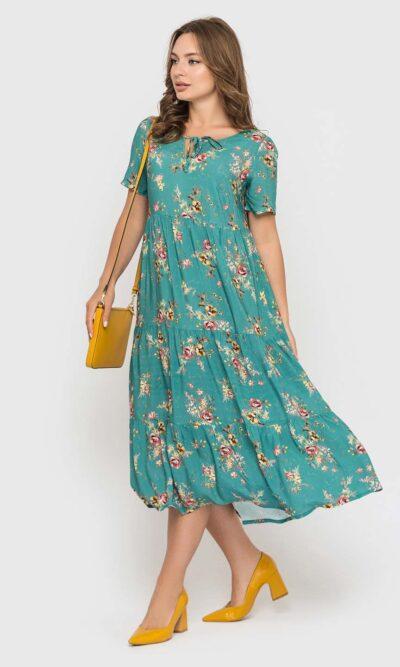 Мятное платье с цветами длинной миди