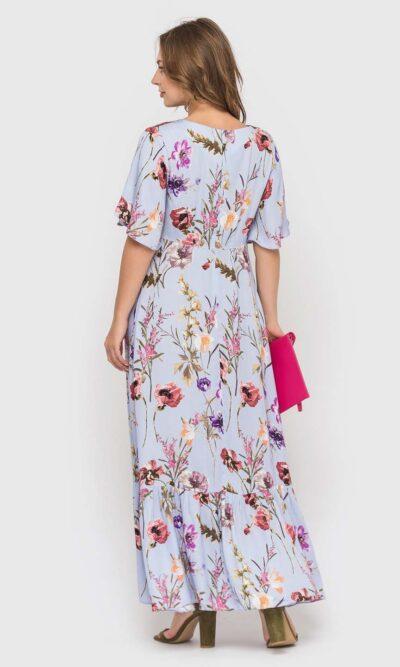 Лиловое платье длинной макси