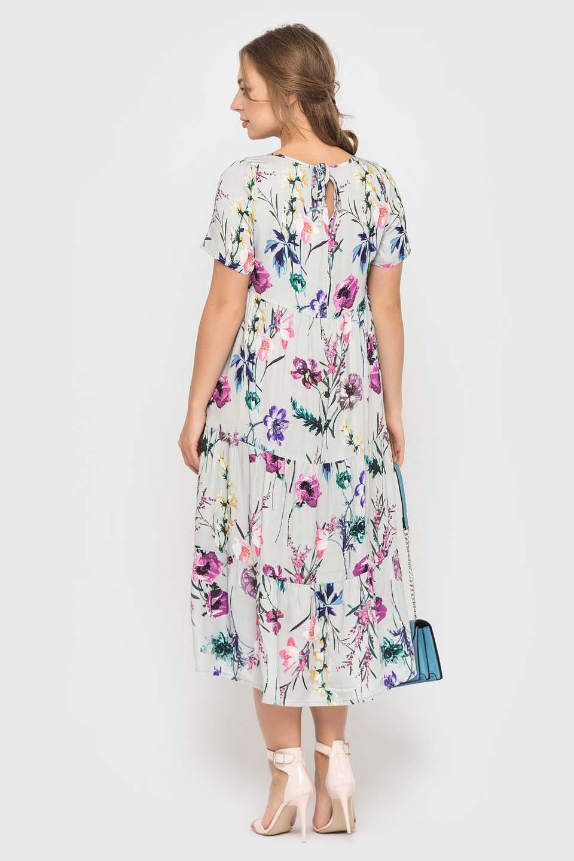 Меланжевое платье с цветами длинной миди
