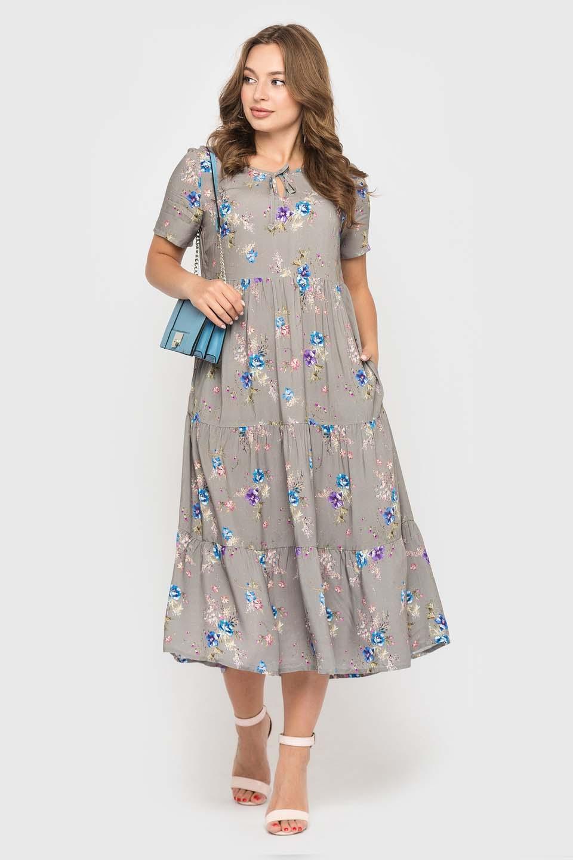 Серое платье с цветами длинной миди