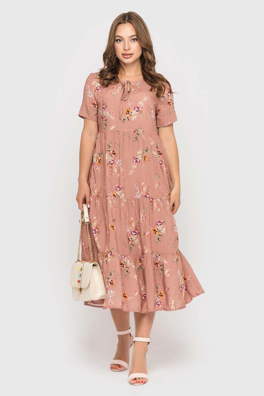 Пудровое платье в цветочек длинной миди
