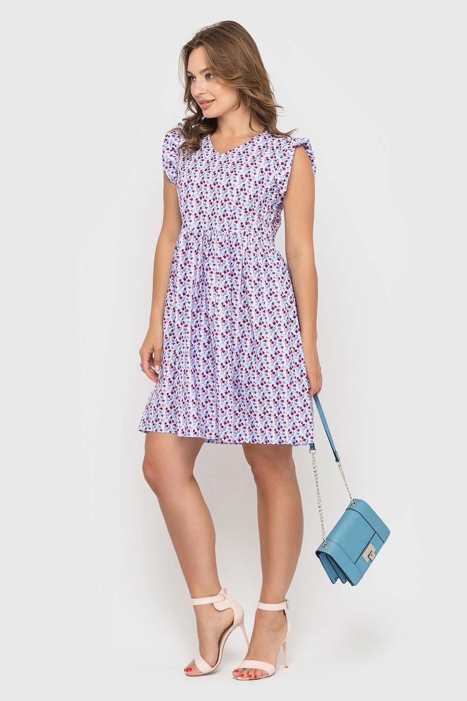 Хлопковое платье мини в цветочек
