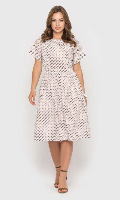 Хлопковое платье в цветной горошек