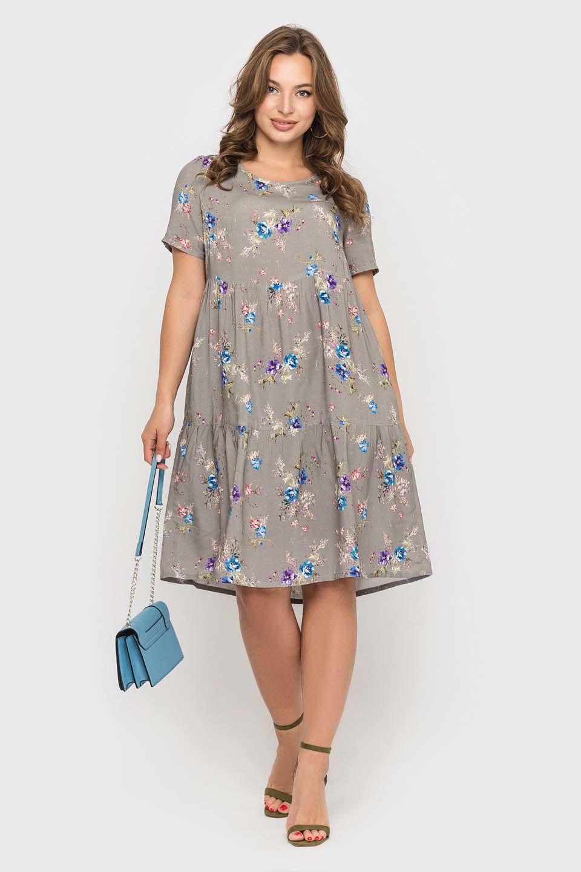 Серое штапельное платье