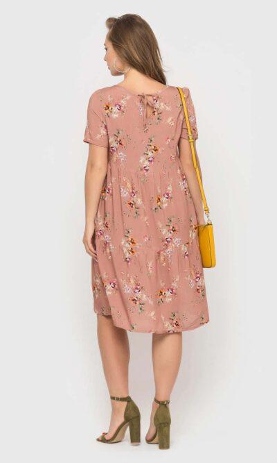 Пудровое платье с цветочным принтом