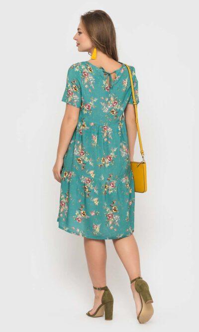 Мятное штапельное платье