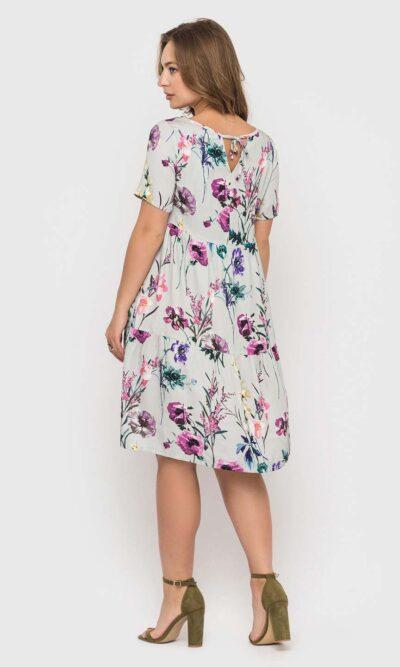 Меланжевое платье с цветочным принтом