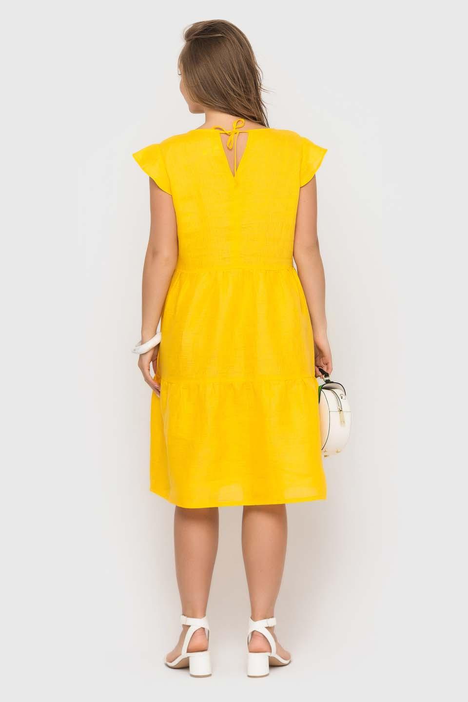 Желтое платье из льна