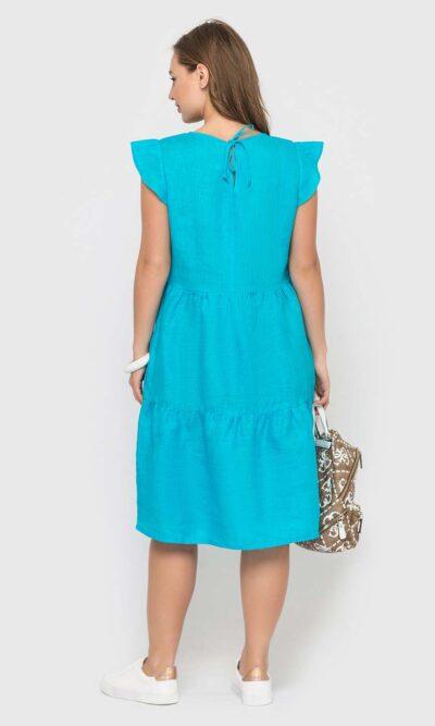 Бирюзовое платье из льна