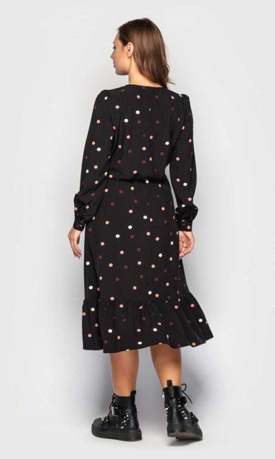 Стильное платье на запах в горошек