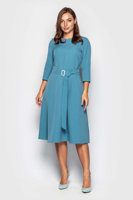 Голубое платье с поясом