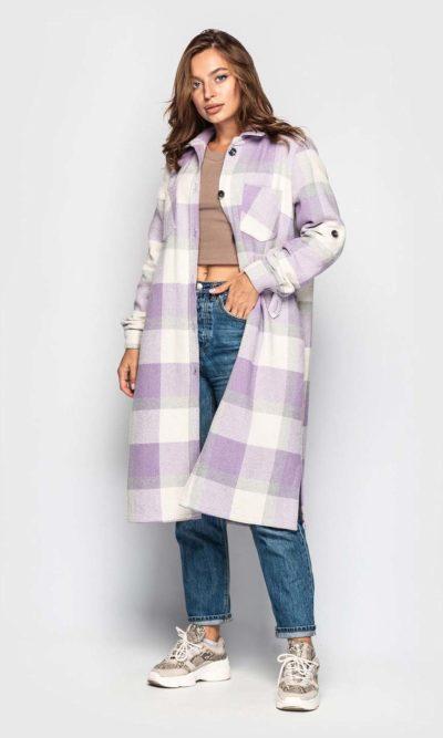 Трендовое пальто-рубашка в клетку