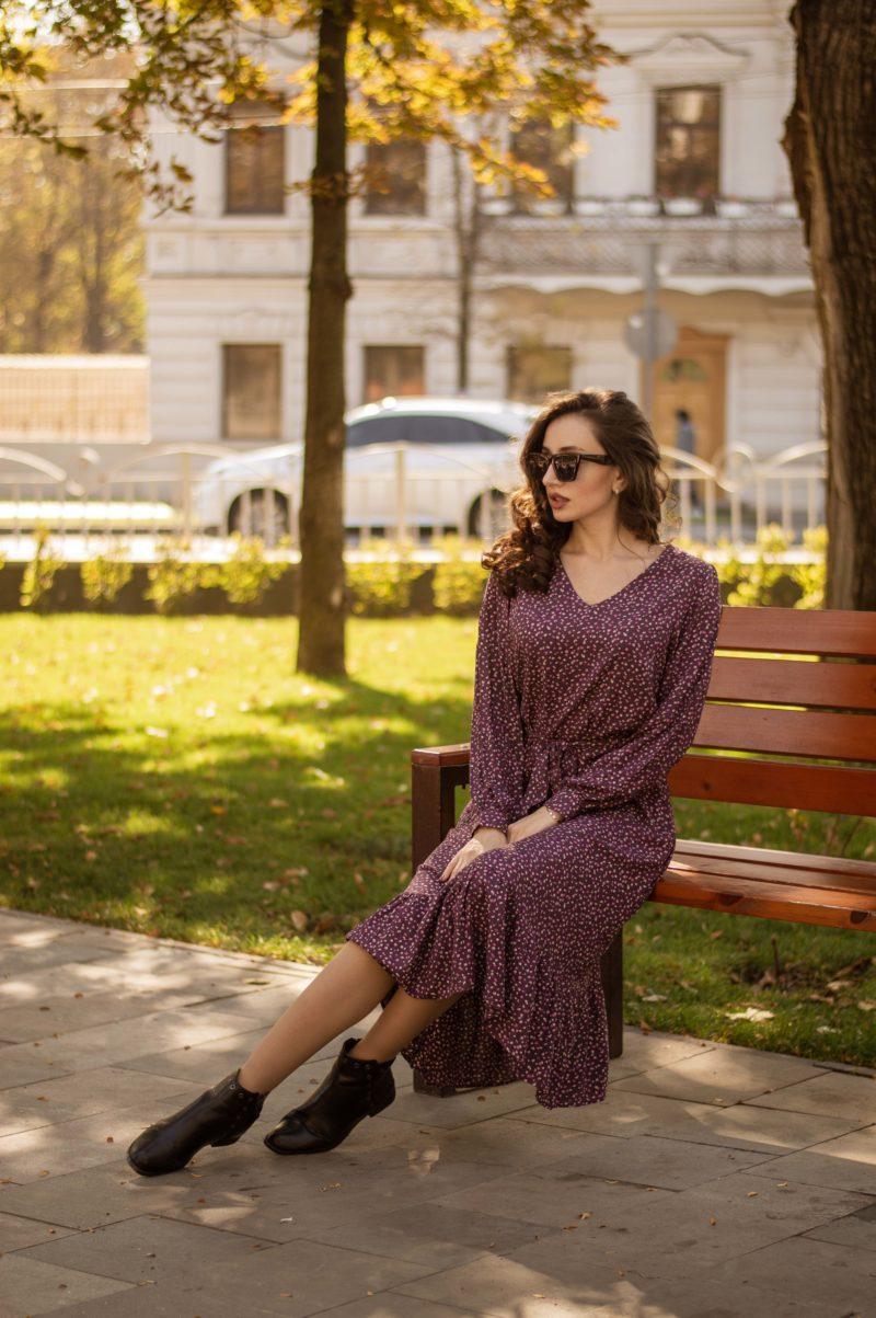 Штапельное платье с рюшей