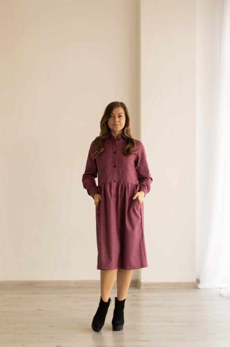 Платье-рубашка в яркой расцветке